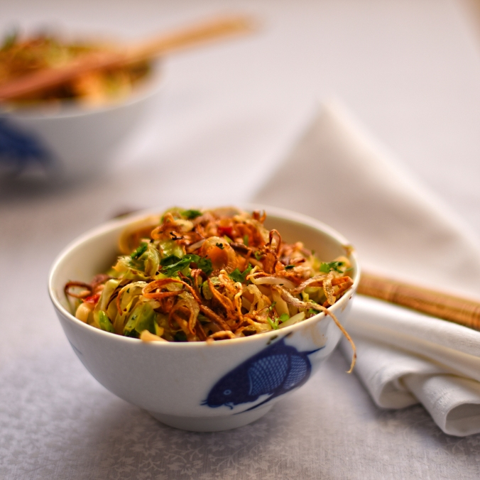 Indonesian style noodles with summer cabbage