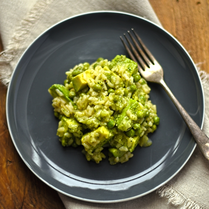 pea, avocado and basil risotto