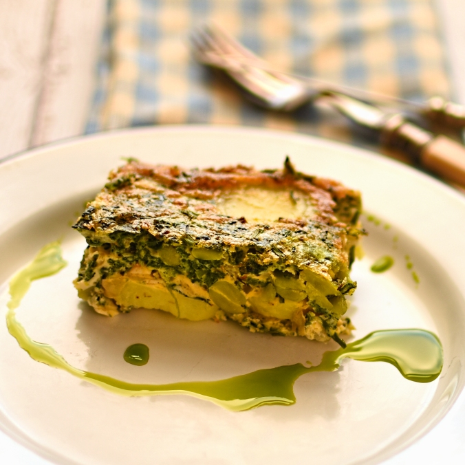 potato, spinach and broad bean frittata