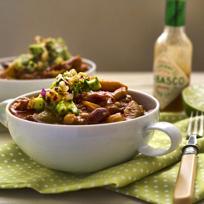 winter squash and bean chilli with guacamole