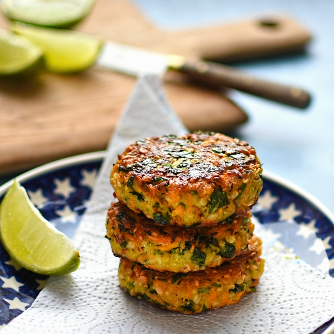carrot, cashew and coriander fritters