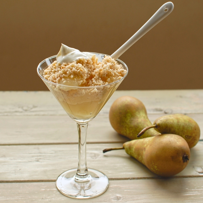 sous vide pear with hazelnut and cinnamon crumble