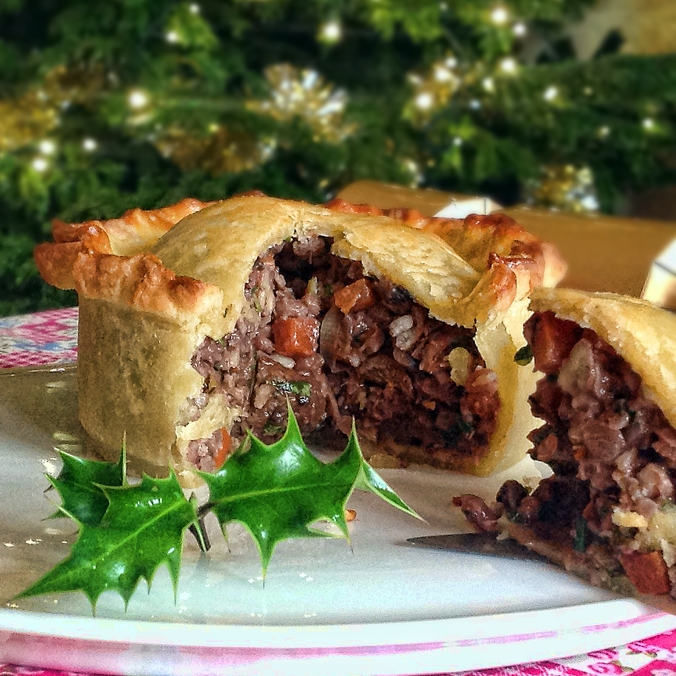 pecan and chestnut raised Christmas pie