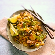 wok fried Brussels sprouts with sriracha