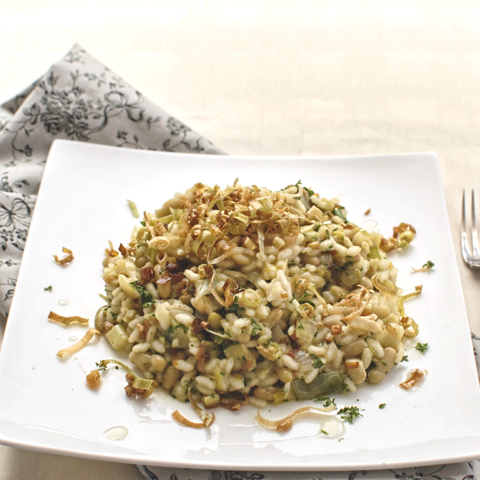 bean-and-leek-risotto-with-truffle-oil