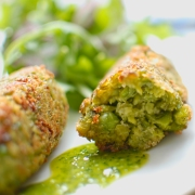 Pea and broad bean croquettes