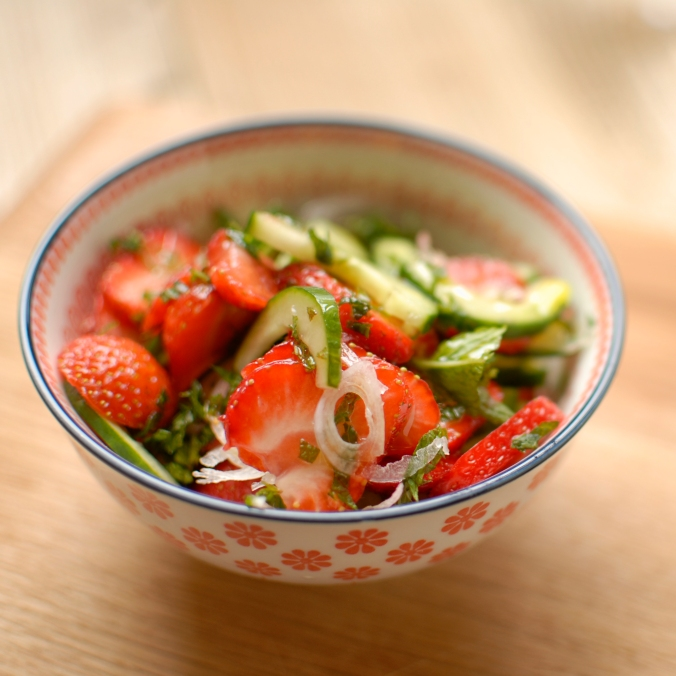 cucumber, shallot and strawberry salad