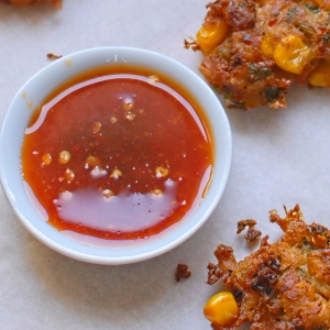Thai-style sweetcorn fritters with sweet chilli dipping ...