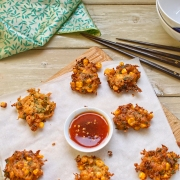 Thai style sweetcorn fritters with sweet chili dipping sauce