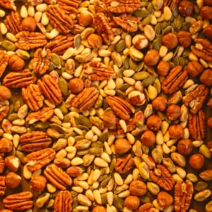 nuts, pumpkin seeds and cranberries