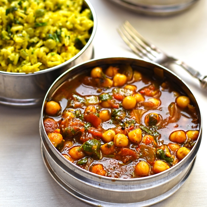 chick pea curry with green pea pilau