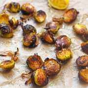 roast Brussels sprouts with shallot lemon and smoked sea salt
