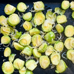 Brussels sprouts and shallots