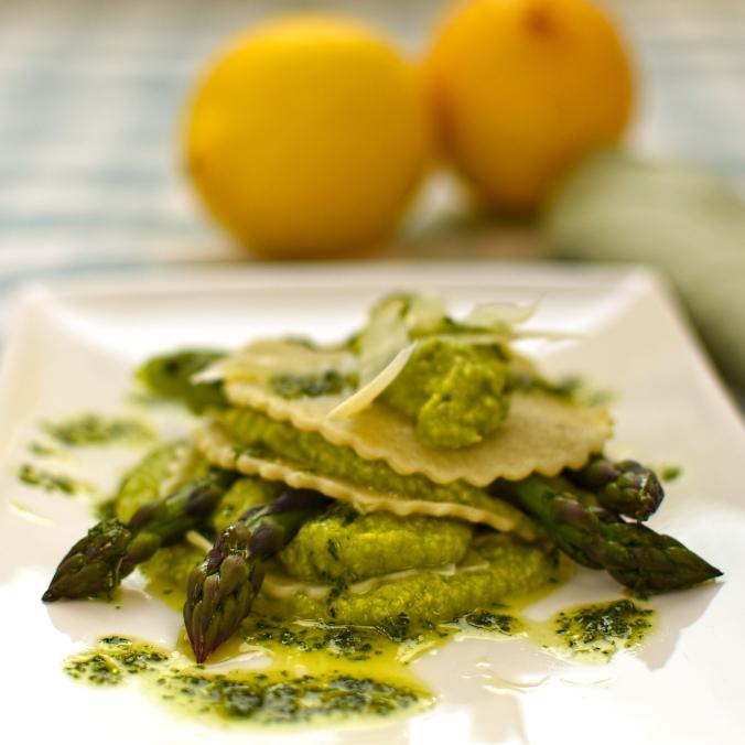 open asparagus ravioli with pea puree