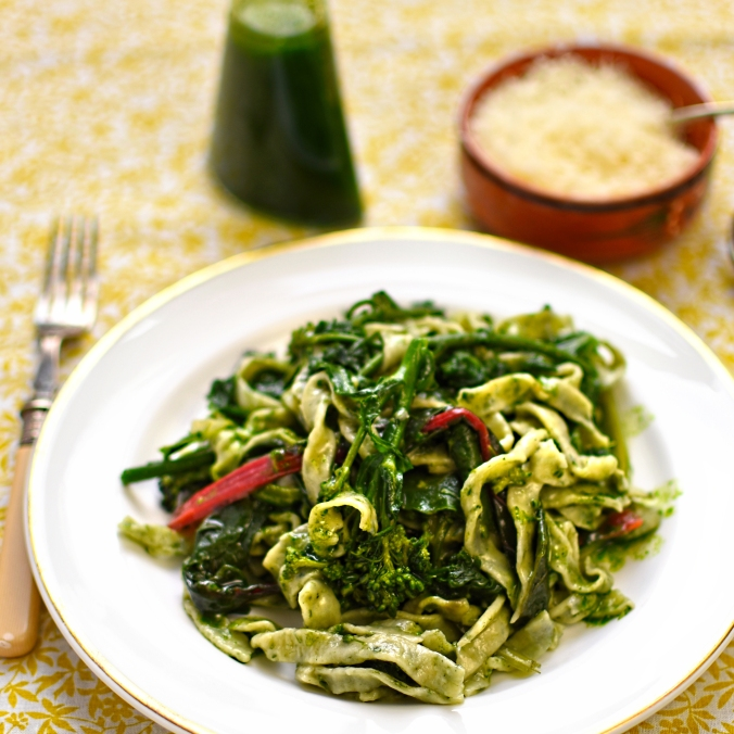 wild garlic tagliatelle with wilted greens