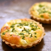 broad bean, feta and chive tartlet