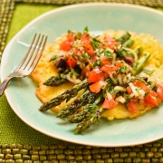 socca pancake with chargrilled asparagus