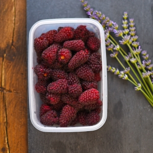 harvested loganberries and lavender heads
