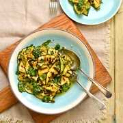 chargrilled courgette salad with lemon and basil