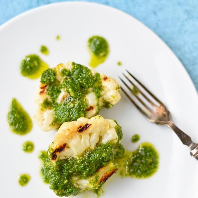 char grilled baby cauliflower with salsa verde