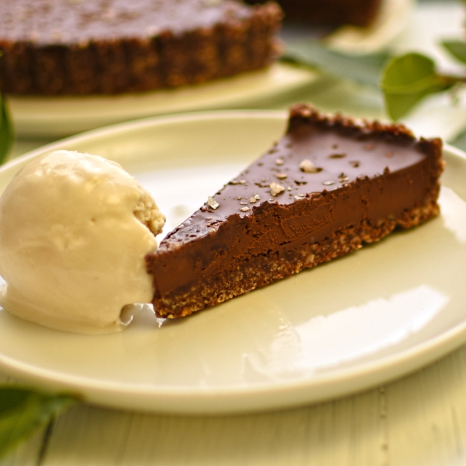 chocolate and salt caramel tart with bay leaf ice cream