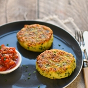 leek, potato and chive cakes