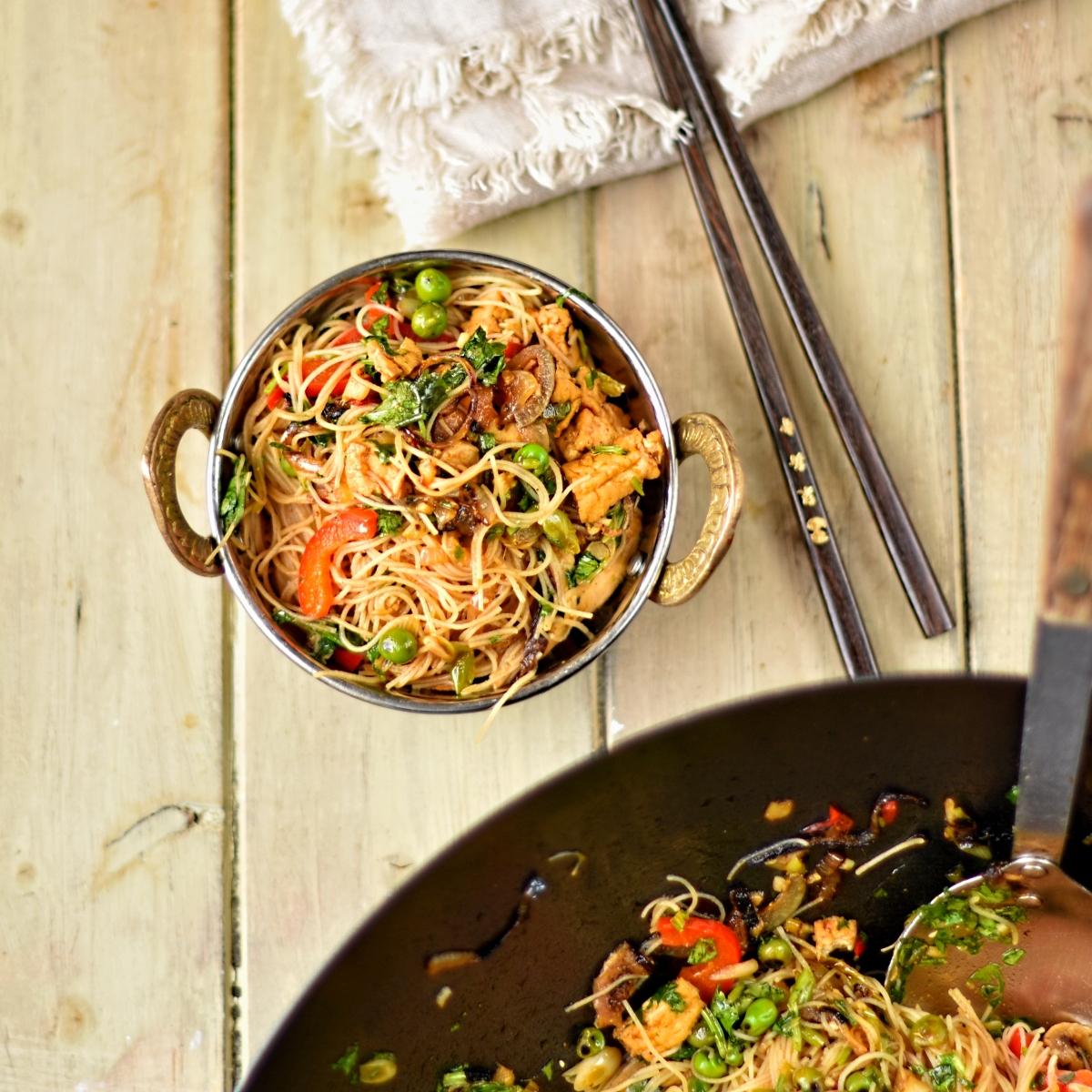 vegan Singapore-style noodles